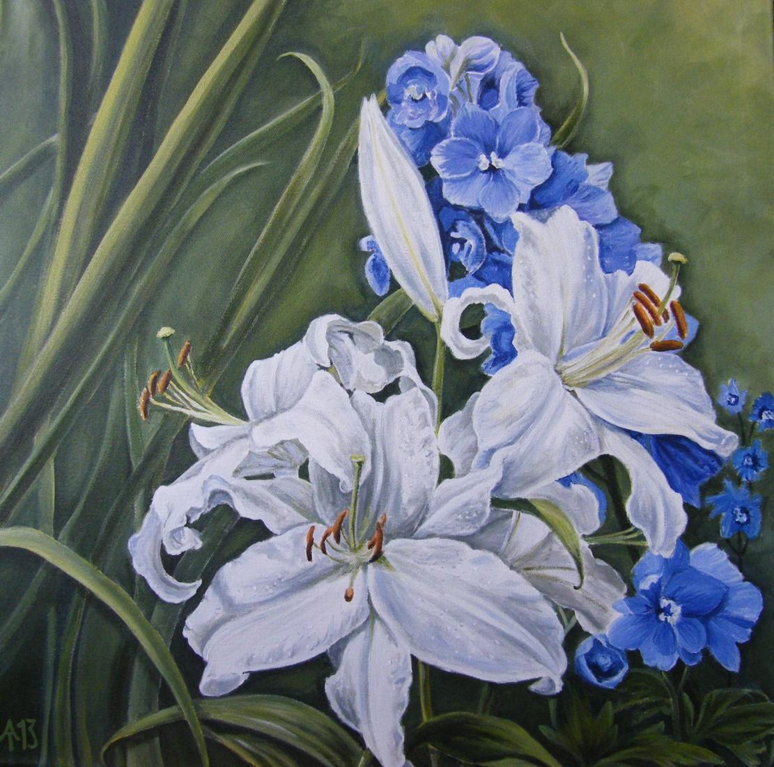 Lilien und Rittersporn 70 x 70 cm kl