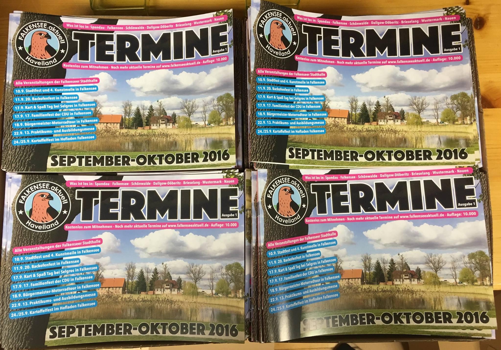 Neuer Terminkalender von Falkensee.Aktuell - das Heft erscheint jeden Monat neu